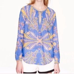 J. Crew Feather Paisley Print Blouse